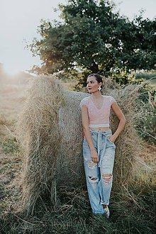 Topy - krajkový ružový crop top - 12296824_