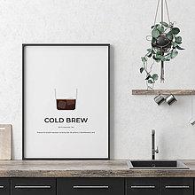 Grafika - COLD BREW, minimalistický print biely - 12297158_