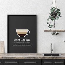 Grafika - CAPPUCCINO, minimalistický print čierny - 12297168_