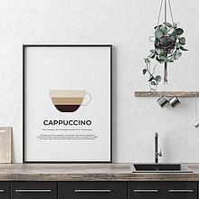 Grafika - CAPPUCCINO, minimalistický print biely - 12297171_
