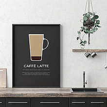 Grafika - CAFFÉ LATTE, minimalistický print čierny - 12297177_