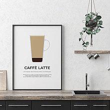 Grafika - CAFFÉ LATTE, minimalistický print biely - 12297183_
