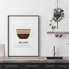 Grafika - AU LAIT, minimalistický print biely - 12297189_