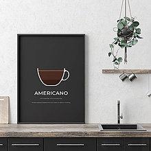 Grafika - AMERICANO, minimalistický print čierny - 12297197_