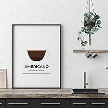 Grafika - AMERICANO, minimalistický print biely - 12297204_