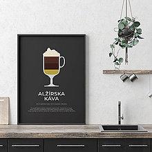 Grafika - ALŽÍRSKA KÁVA, minimalistický print čierny - 12297212_