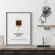 Grafika - ALŽÍRSKA KÁVA, minimalistický print biely - 12297225_