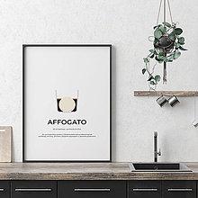 Grafika - AFFOGATO, minimalistický print biely - 12297245_