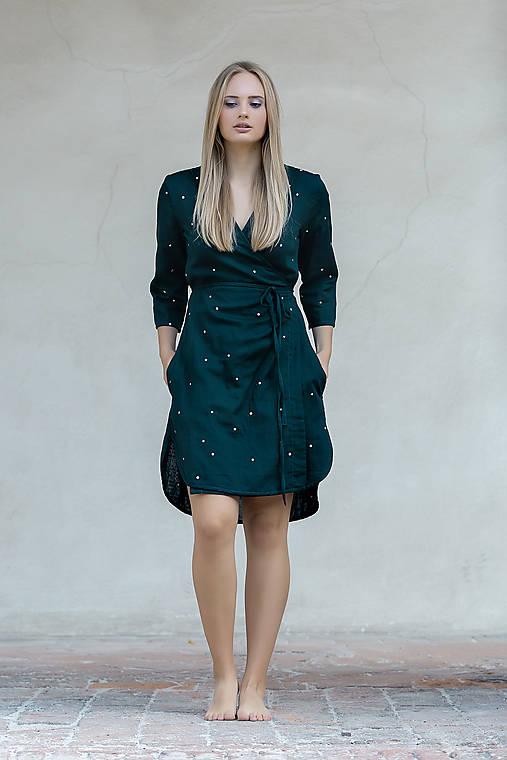 Šaty - Zavinovací šaty smaragdové - 12296756_