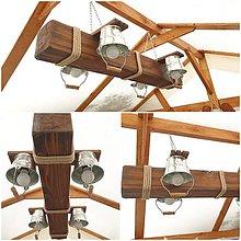 Svietidlá a sviečky - Chaluparsky dreveny luster hranol s vedierkami - 12296899_