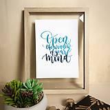 Grafika - Otvor myseľ - citát - print A5 - 12299440_