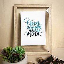 Grafika - Otvor myseľ - citát - print A5 - 12299432_