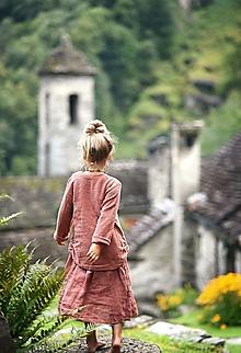 Detské oblečenie - Lněná tunika terakota - 12299314_