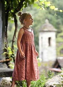 Detské oblečenie - Lněné šatičky terakota - 12299344_
