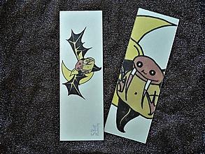 Papiernictvo - Upírsky netopierik, strašidelná trblietavá záložka - 12297009_