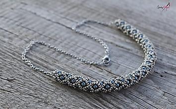 Náhrdelníky - náhrdelník dutinkový polovičný (náhrdelník sivo-kovový) - 12300075_