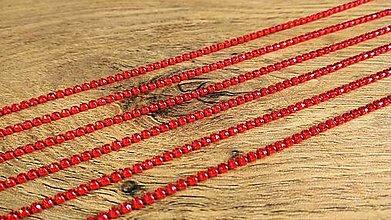 Komponenty - Štrasová borta 2 mm - cena za 10 cm (Červená) - 12300654_