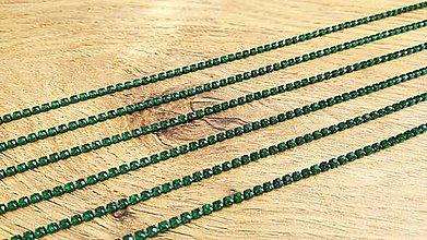 Komponenty - Štrasová borta 2 mm - cena za 10 cm (Zelená) - 12300656_