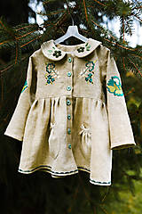 Detské oblečenie - Vyšívaný ľanový kabátik zelený - 12299947_