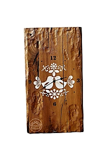 Hodiny - Dubové hodiny s bielym ornamentom II. - 12301469_