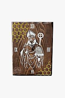 Hodiny - Drevené bukové hodiny - sv. Ambróz patrón včelárov - 12301559_