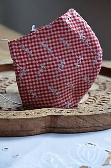 Rúška - Rúško na tvár  (Červená kocka,výšivka) - 12300817_