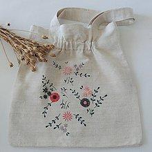 Nákupné tašky - Ľanová nákupná taška - ružovosivé kvety - 12302560_