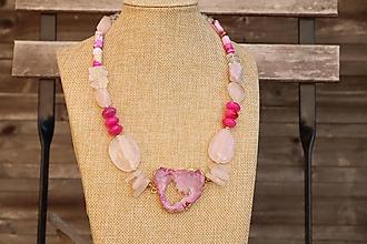 Náhrdelníky - Mohutný náhrdelník s minerálmi ruženín, achát, kunzit, krištáľ - 12300781_