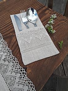 Úžitkový textil - Puzdro na príbor Luxury Linen Natur - 12302393_
