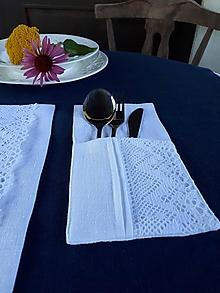 Úžitkový textil - Puzdro na príbor Luxury Linen White - 12302543_