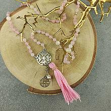 Náhrdelníky - Etno náhrdelník růženín, hematit - 12305616_