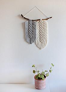 """Dekorácie - makramé listy """"minimalizmus"""" (šedo-biela) - 12303773_"""