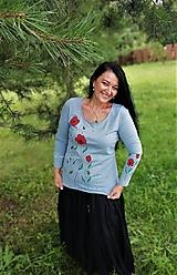 Tričká - Maky - maľované tričko organ.bavlna sivé - 12305868_