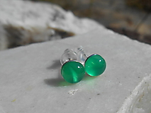 Náušnice - green chalcedon-mini napich.naušnice - 12306689_