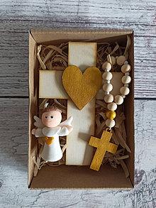Dekorácie - Set krížik a ruženec a anjelik -zlata - 12305012_