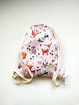 Detské tašky - Detský batoh - vrecúško, les na ružovej, 3-6r. - 12305666_