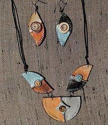Sady šperkov - Oranžovotyrkysový náhrdeľník - 12303300_