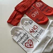 Obuv - Maľované ponožky pre ženícha (+ nevestu - sada 2 párov) - 12303840_