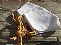 Rúška - biele rúško - špagetka vo farbe horčicovej - 12303597_