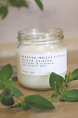 Svietidlá a sviečky - Sojová sviečka - Medovka indická citronela - 12305702_