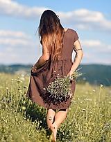 Šaty - Hnědé šaty lněné - 12306343_