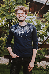 Tričká - Tmavomodré unisex tričko In Vino - 12305936_