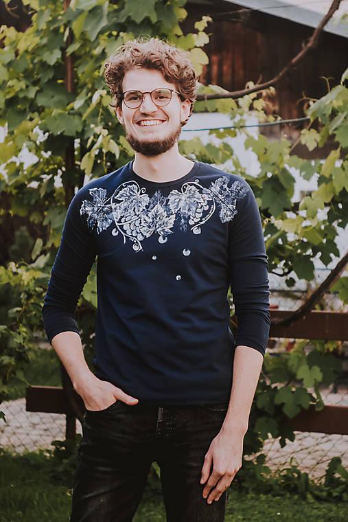 Tmavomodré unisex tričko In Vino