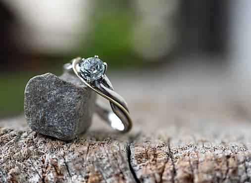 Prstene - Snubáčik - elegán (Prírodný akvamarín) - 12307174_