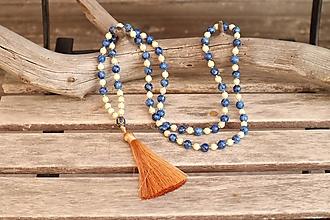 Náhrdelníky - Náhrdelník so strapcom a minerálmi howlit a jaspis - 12306877_