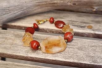 Náramky - Bohemian náramok z minerálov citrín, jaspis, achát - 12307017_