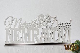 Dekorácie - Spoločné priezvisko +mená+dátum svadby - na podstavci - 12309701_