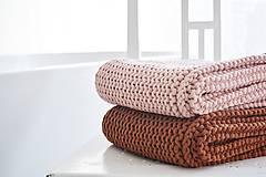 Úžitkový textil - Pletený koberček/predložka - marhuľková - 12309321_