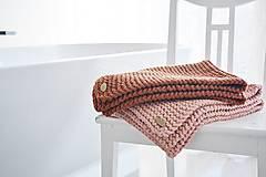 Úžitkový textil - Pletený koberček/predložka - marhuľková - 12309323_