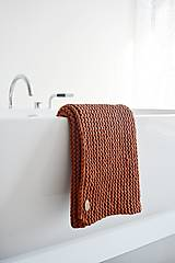 Úžitkový textil - Pletený koberček/predložka - škoricová - 12309327_